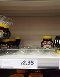 © Licensed to London News Pictures. 13/10/2016<br /> Space on the shelves where Marmite is starting to spread thin at Tesco super store in Sidcup,Kent. <br /> Unilever have withdraw Marmite from Tesco after the supermarket giant refuse to agree to a 10 per cent price rise. Photo credit :Grant Falvey/LNP
