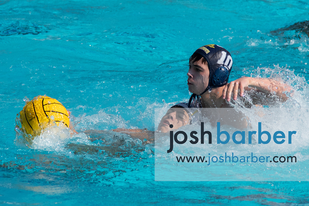 Capistrano Valley's Andrew Freitas, Santa Monica's Joshua Threlkeld during the CIF-SS Division 4 boys water polo Final at William Woollett Jr. Aquatic Center on Saturday, November 10, 2018 in Irvine, Calif. (Photo by Josh Barber, Contributing Photographer)