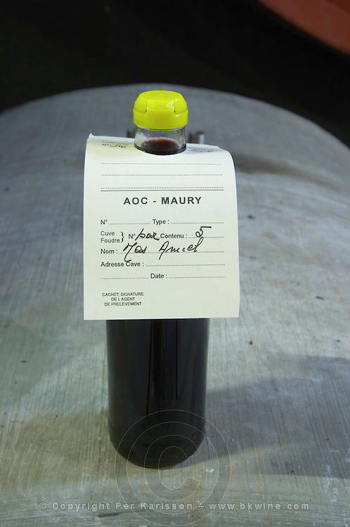 Samples of offical control, agrement. Mas Amiel, Maury, Roussillon, France