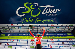 Winner in points classification Matej MOHORIC of BAHRAIN VICTORIOUS celebrates at trophy ceremony after the 3rd Stage of 27th Tour of Slovenia 2021 cycling race between Brezice and Krsko (165,8 km), on June 11, 2021 in Slovenia. Photo by Vid Ponikvar / Sportida