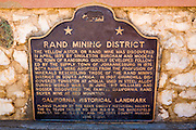 The California historical plaque for the Rand Mining District, Randsburg, California