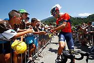 Vincenzo Nibali (ITA - Bahrain - Merida) autograph, fans during the 105th Tour de France 2018, Stage 11, Alberville - La Rosiere Espace Bernardo (108,5 km) on July 18th, 2018 - Photo Luca Bettini / BettiniPhoto / ProSportsImages / DPPI