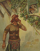 SAMSON SEETH DELILAH AT HER WINDOW. Judges xvi. 1 Then went Samson to Gaza, and saw there a harlot, and went in unto her From the book ' The Old Testament : three hundred and ninety-six compositions illustrating the Old Testament ' Part II by J. James Tissot Published by M. de Brunoff in Paris, London and New York in 1904