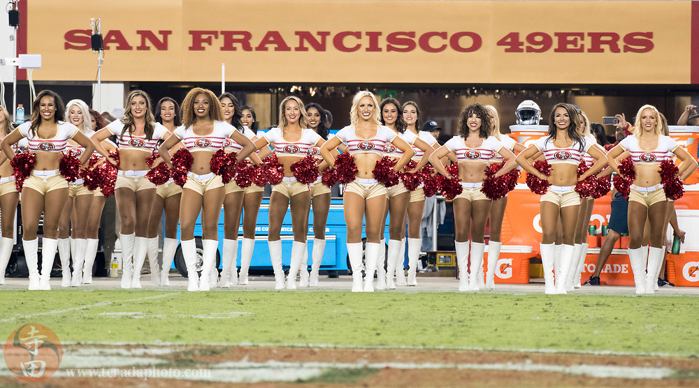 August 31, 2017; Santa Clara, CA, USA; San Francisco 49ers Gold Rush cheerleaders during halftime against the Los Angeles Chargers at Levi's Stadium. The 49ers defeated the Chargers 23-13.