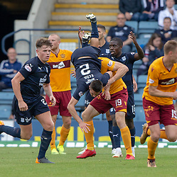 Dundee's Cemeron Kerr over Motherwell's Conor Sammon. Dundee 1 v 3 Motherwell, SPFL Ladbrokes Premiership game played 1/9/2018 at Dundee's Kilmac stadium Dens Park