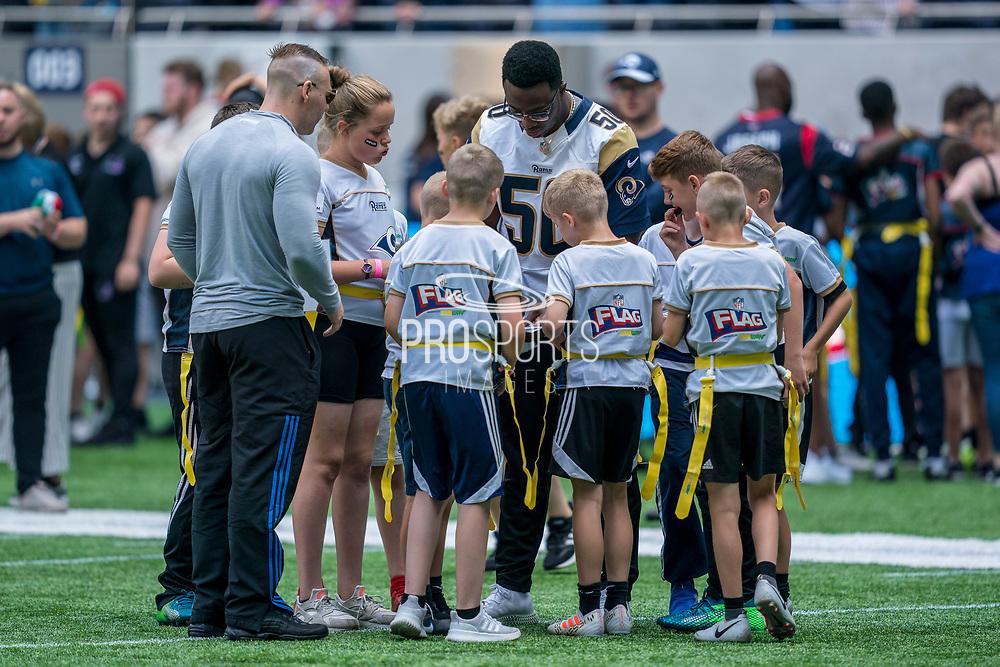 Samson Ebukam (LB, LA Rams) talks to his team during the NFL UK Media Day at Tottenham Hotspur Stadium, London, United Kingdom on 3 July 2019.
