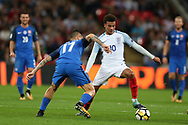 Dele Alli of England is challenged by Marek Hamsik of Slovakia. FIFA World cup qualifying match, European group F, England v Slovakia at Wembley Stadium in London on Monday 4th September 2017.<br /> pic by Andrew Orchard, Andrew Orchard sports photography.