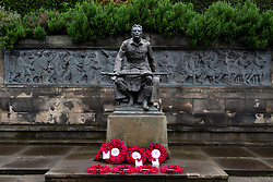 The Scottish American Memorial called The Call 1914 in  Princes Street Gardens Edinburgh, Scotland. UK