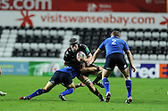 Ryan Jones © of the Ospreys looks for a gap. Heineken cup rugby, pool 1 match, Ospreys v Leinster rugby at the Liberty stadium in Swansea on Sat 12th October 2013 pic by Andrew Orchard, Andrew Orchard sports photography,