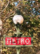 Parisian metro sign, Paris, France