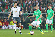 Michael Carrick Midfielder of Manchester United battles with Saint-Etienne Forward Robert Beric during the Europa League match between Saint-Etienne and Manchester United at Stade Geoffroy Guichard, Saint-Etienne, France on 22 February 2017. Photo by Phil Duncan.