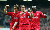 Harry Kewell Celebrates Scoring 3rd goal with team mates Luis Garcia, Xabi Alonso and Momo Sissoko.<br />Liverpool 2005/06<br />Liverpool V Everton 25/03/06 (3-1) at Anfield<br />The Premier League<br />Photo Robin Parker Fotosports International