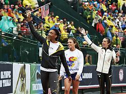 USA Olympic team women's triple jump taking victory lap