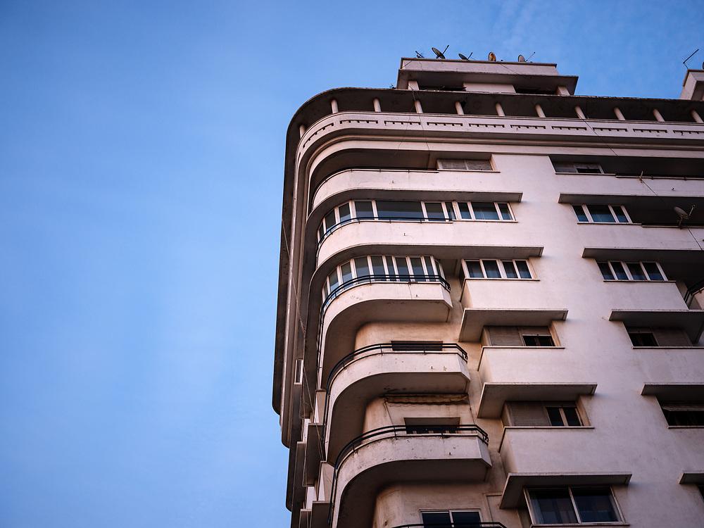 CASABLANCA, MOROCCO - CIRCA APRIL 2018: Typical Art Deco construction of Casablanca in Morocco