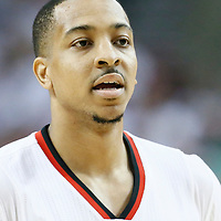 25 April 2016: Portland Trail Blazers guard C.J. McCollum (3) is seen during the Portland Trail Blazers 98-84 victory over the Los Angeles Clippers, during Game Four of the Western Conference Quarterfinals of the NBA Playoffs at the Moda Center, Portland, Oregon, USA.