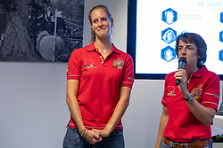 Van Laere Marie-Fleur (Social Media Reporter), Laeremans Weny, (Chef de Mission)<br /> Team presentation for WEG Tryon 2018<br /> Zaventem 2018<br /> © Hippo Foto - Dirk Caremans<br /> 22/08/2018