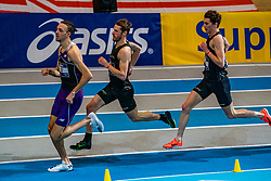 (L-R) Djoao Lobles, Thijmen Kupers, Bram Buigel in action on the 800 meters during limit matches to be held simultaneously with the Dutch Athletics Championships on 14 February 2021 in Apeldoorn