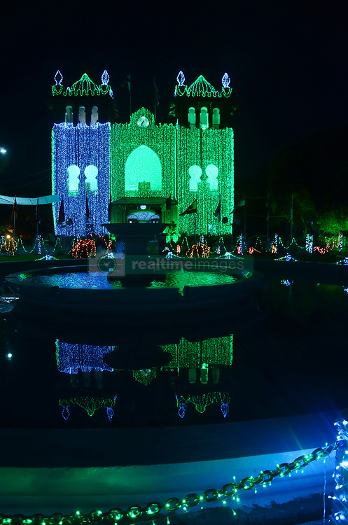 August 5, 2017 - Lahore, Punjab, Pakistan - An illuminated view of a building decorated with colorful lights in connection with independence day celebration. (Credit Image: © Rana Sajid Hussain/Pacific Press via ZUMA Wire)