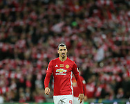 Zlatan Ibrahimovic of Manchester Utd looks on. EFL Cup Final 2017, Manchester Utd v Southampton at Wembley Stadium in London on Sunday 26th February 2017. pic by Andrew Orchard, Andrew Orchard sports photography.