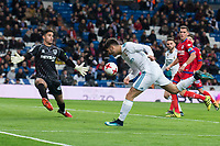 Real Madrid Marco Asensio and CD Numancia Munir Mohand during King's Cup match between Real Madrid and CD Numancia at Santiago Bernabeu Stadium in Madrid, Spain. January 10, 2018. (ALTERPHOTOS/Borja B.Hojas)