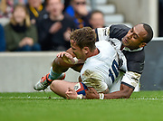 England fly-half Danny Cipriani (Sale Sharks)  grounds the ball for his first try under pressure from Barbarians centre Joe Rokocoko (Bayonne & New Zealand) during the International Rugby Union match England XV -V- Barbarians at Twickenham Stadium, London, Greater London, England on May  31  2015. (Steve Flynn/Image of Sport)