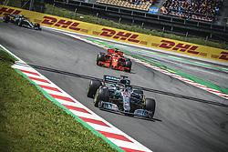 May 13, 2018 - Barcelona, Catalonia, Spain - LEWIS HAMILTON (GBR) leads SEBASTIAN VETTEL (GER) during the Spanish GP at Circuit de Barcelona - Catalunya in his Mercedes W09 EQ Power  (Credit Image: © Matthias Oesterle via ZUMA Wire)