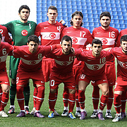 Turkey U21's players (Left to Right) (Front Row) Furkan Ozcal, Burak Kaplan, Emre Colak, Emrah Bassan, Ozgur Cek, (Back Row) (Left to Right) Serkan Kurtulus, goalkeeper Ozkan Karabulut, Baris Basdas, Musa Nizam, Musa Cagiran, Sercan Yildirim during their friendly soccer match Turkey U21 betwen Denmark U21 at Recep Tayyip Erdogan stadium in Istanbul February 29, 2012. Photo by TURKPIX