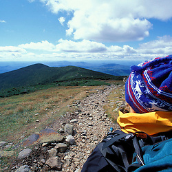 Hiking.  Mt. Moosilauke. Appalachian Trail. Looking towards South Peak.  White Mountain N.F., NH