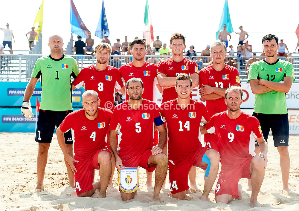 Moldova have their photo taken during the FIFA Beach Soccer World Cup qualifier in Jesolo. (Photo by Manuel Queimadelos)