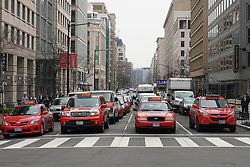 Red cabs on a Washington street. From a series of travel photos in the United States. Photo date: Thursday, March 29, 2018. Photo credit should read: Richard Gray/EMPICS