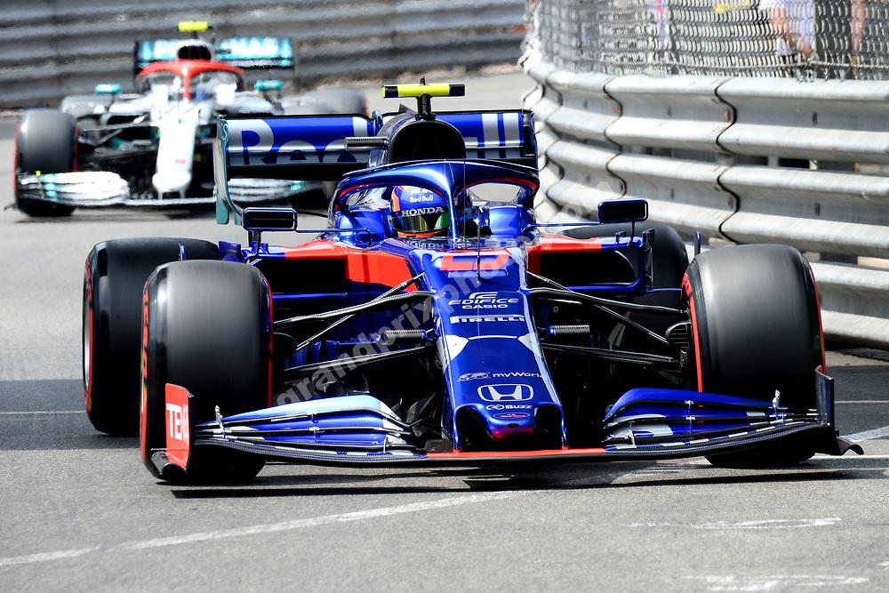 Alexander Albon (Toro Rosso-Honda) leading Valtteri Bottas (Mercedes) during qualifying for the 2019 Monaco Grand Prix. Photo: Grand Prix Photo