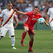 Joe Allen, Liverpool, in action during the Liverpool Vs AS Roma friendly pre season football match at Fenway Park, Boston. USA. 23rd July 2014. Photo Tim Clayton