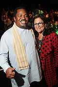 September 6, 2012- New York, New York:  (L-R) Prince Nduka Obaigbena, Editor-in-Chief, ARISE Magazine and Fern Mallis, founder, New York Fashion Week at The ARISE Magazine Icons Fashion Showcase for The 2012 Spring Mercedes-Benz Fashion Week featuring the designs of Ozwald Boateng, Tiffany Amber, Tsemaye Binitie, Maki Oh and Gavin Rajah held at Lincoln Center on September 6, 2012 in New York City. ARISE is Africa's first and foremost international style magazine. Highlighting African achievement in fashion, music, culture and politics, it provides a positive portrayal of the continent and its contribution to contemporary society across the world.  (Terrence Jennings)