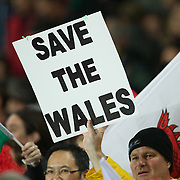A welsh fan holds up a sign during the Wales V France Semi Final match at the IRB Rugby World Cup tournament, Eden Park, Auckland, New Zealand, 15th October 2011. Photo Tim Clayton...