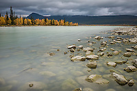Autumn landscape from shore of lake Laitaure, Kungsleden trail, Lapland, Sweden