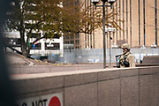 A Minnesota National Guardsman patrols outside the Hennepin County Government Center in Minneapolis, Minnesota, on Monday, April 19, 2021.
