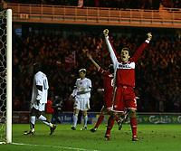 Photo: Jed Wee.<br /> Middlesbrough v FC Basle. UEFA Cup. Quarter-Final. 06/04/2006.<br /> <br /> Middlesbrough's Mark Viduka celebrates after Massimo Maccarone's winner.