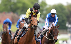 Future Investment (left) riden by Harry Bentley wins The Sportpesa Maiden Stakes, during Boodles City Day at Chester Racecourse, Chester
