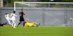 Dumbarton's Bryan Prunty (12) scoring their goal.<br /> Dumbarton 1 v 1 Falkirk, Scottish Championship 10/8/2013.<br /> ©Michael Schofield.