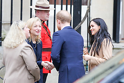 © Licensed to London News Pictures. 07/01/2020. London, UK. Prince Harry, Duke of Sussex and Meghan, Duchess of Sussex arrive at Canada House in London and are greeted by Janice Charette. Duke and Duchess of Sussex will meet Janice Charette, High Commissioner for Canada to the UK and the staff and thank them for the warm Canadian hospitality and support they received during their recent stay in Canada. Photo credit: Dinendra Haria/LNP