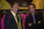 A.A. Gill and Henry Dent-Brocklehurst. <br />Shanghai Tang opening. Sloane St. 11 April 2001. © Copyright Photograph by Dafydd Jones 66 Stockwell Park Rd. London SW9 0DA Tel 020 7733 0108 www.dafjones.com
