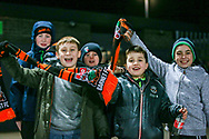 Young Barnet fans arrive before the The FA Cup fourth round match between Barnet and Brentford at The Hive Stadium, London, England on 28 January 2019.
