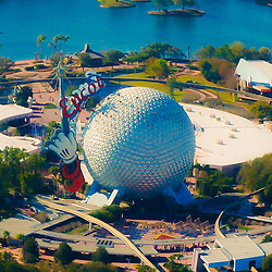 Aerial view of Epcot Center in Disney World, Orlando, Florida