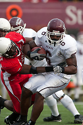 04 November 2006: Kye Stewart grabs hold of Gerald Davis. In a decisive victory, the Illinois State Redbirds defeat the Missouri State Bears 38-14 at Hancock Stadium on the campus of Illinois State University in Normal Illinois.<br />