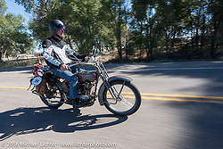Denis Sharon approaching Pueblo, Colorado on his 1916 Harley-Davidson during the Motorcycle Cannonball Race of the Century. Stage-9 Dodge City, KS to Pueblo, CO. USA. Monday September 19, 2016. Photography ©2016 Michael Lichter