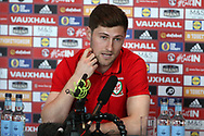 Ben Davies of Wales speaks to the media at the Wales football player media session at the Vale Resort Hotel in Hensol , South Wales on Wednesday 22nd March 2017. the team are preparing for their FIFA World Cup qualifier away to Republic of Ireland on Friday. pic by Andrew Orchard, Andrew Orchard sports photography