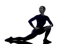 woman exercising Parivrrta Parsvakonasana Revolved Extended Side Angle pose yoga silhouette shadow white background