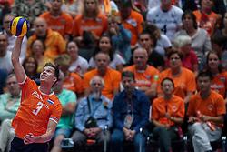 10-08-2019 NED: FIVB Tokyo Volleyball Qualification 2019 / Belgium - Netherlands, Rotterdam<br /> Third match pool B in hall Ahoy between Belgium vs. Netherlands (0-3) for one Olympic ticket / Maarten van Garderen #3 of Netherlands