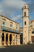View of Havana Cathedral with arches and columns, Plaza de la Catedral, Havana, Cuba