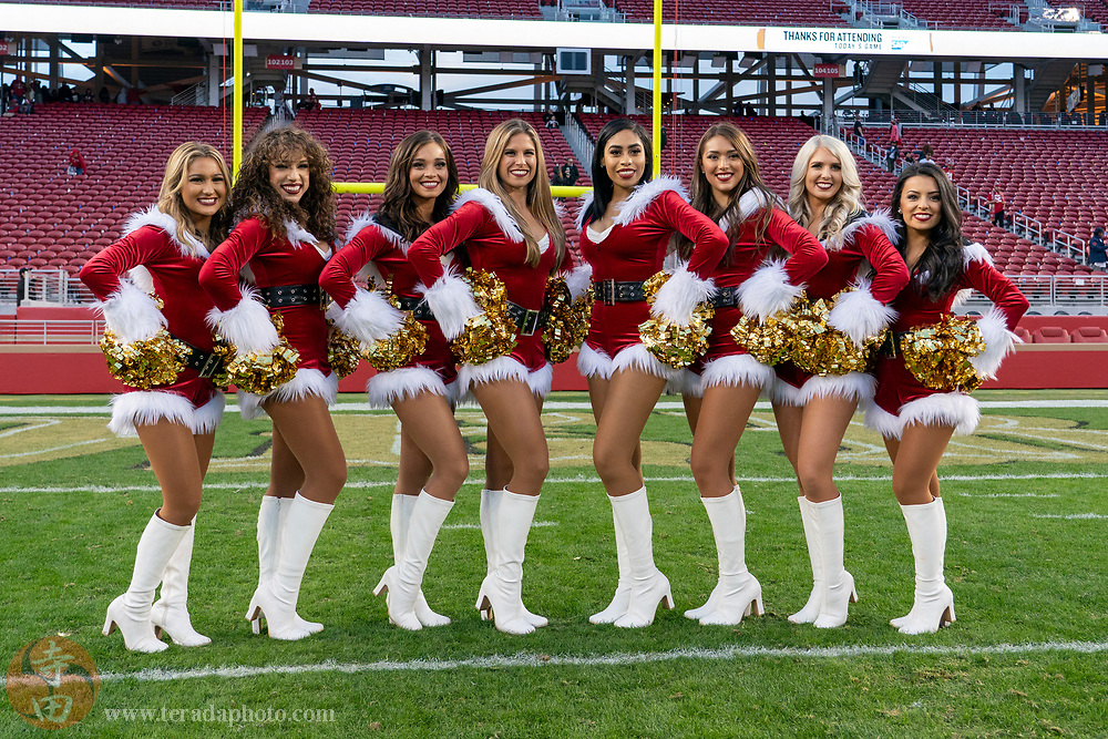 December 23, 2018; Santa Clara, CA, USA; (L-R) San Francisco 49ers Gold Rush cheerleaders Haley B., Natalie, Bret, Marissa, Kayla, Mikaila, Allison, and Yvonne after the game against the Chicago Bears at Levi's Stadium.